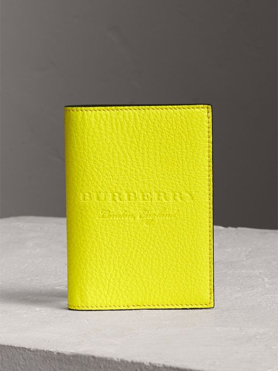 Embossed Leather Passport Holder in Bright Yellow