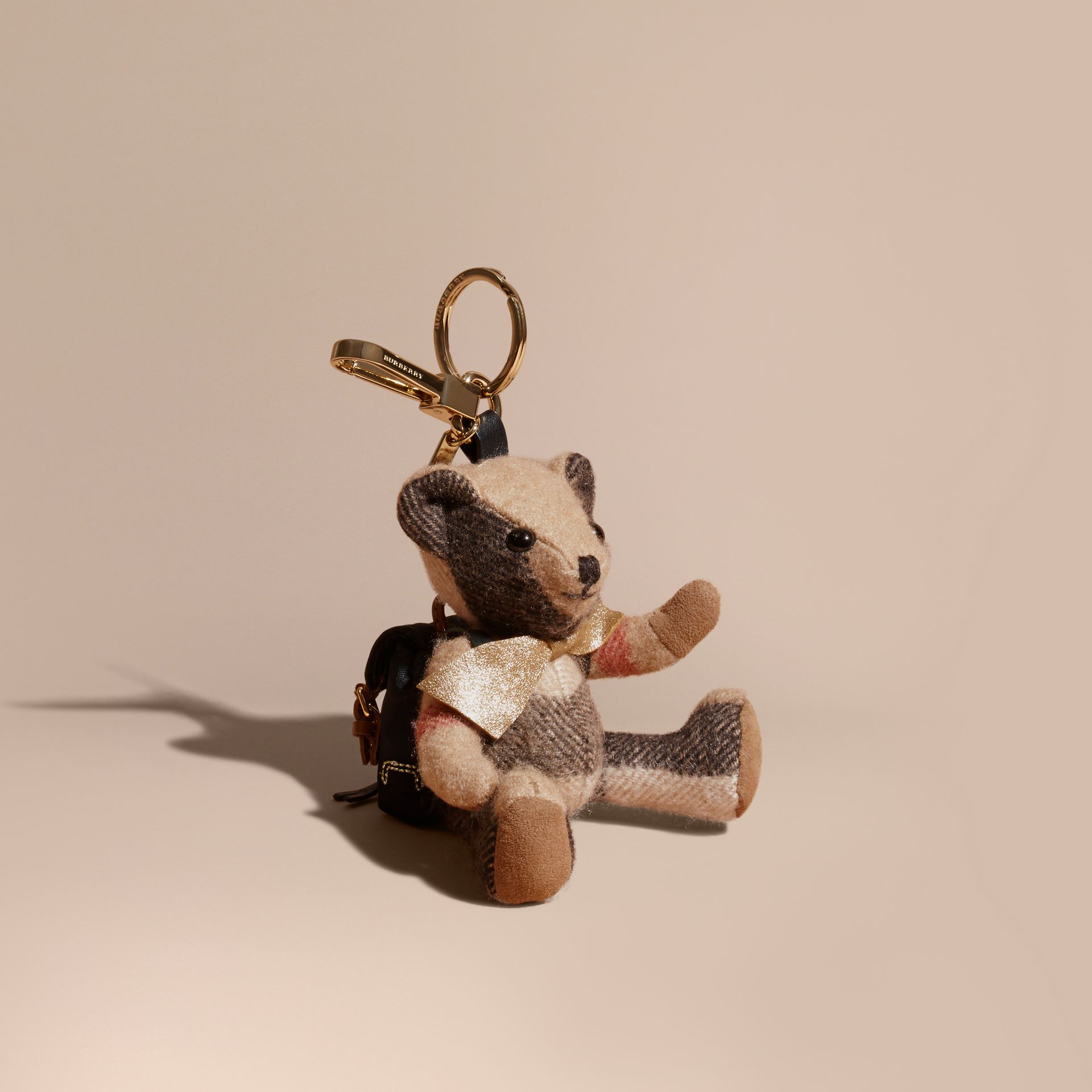 Thomas Bear Charm with Rucksack in Camel | Burberry - gallery image 1