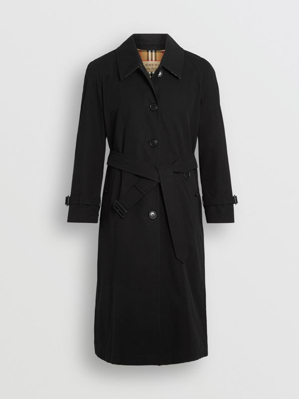 Side-slit Tropical Gabardine Trench Coat in Black - Women | Burberry United Kingdom - cell image 3