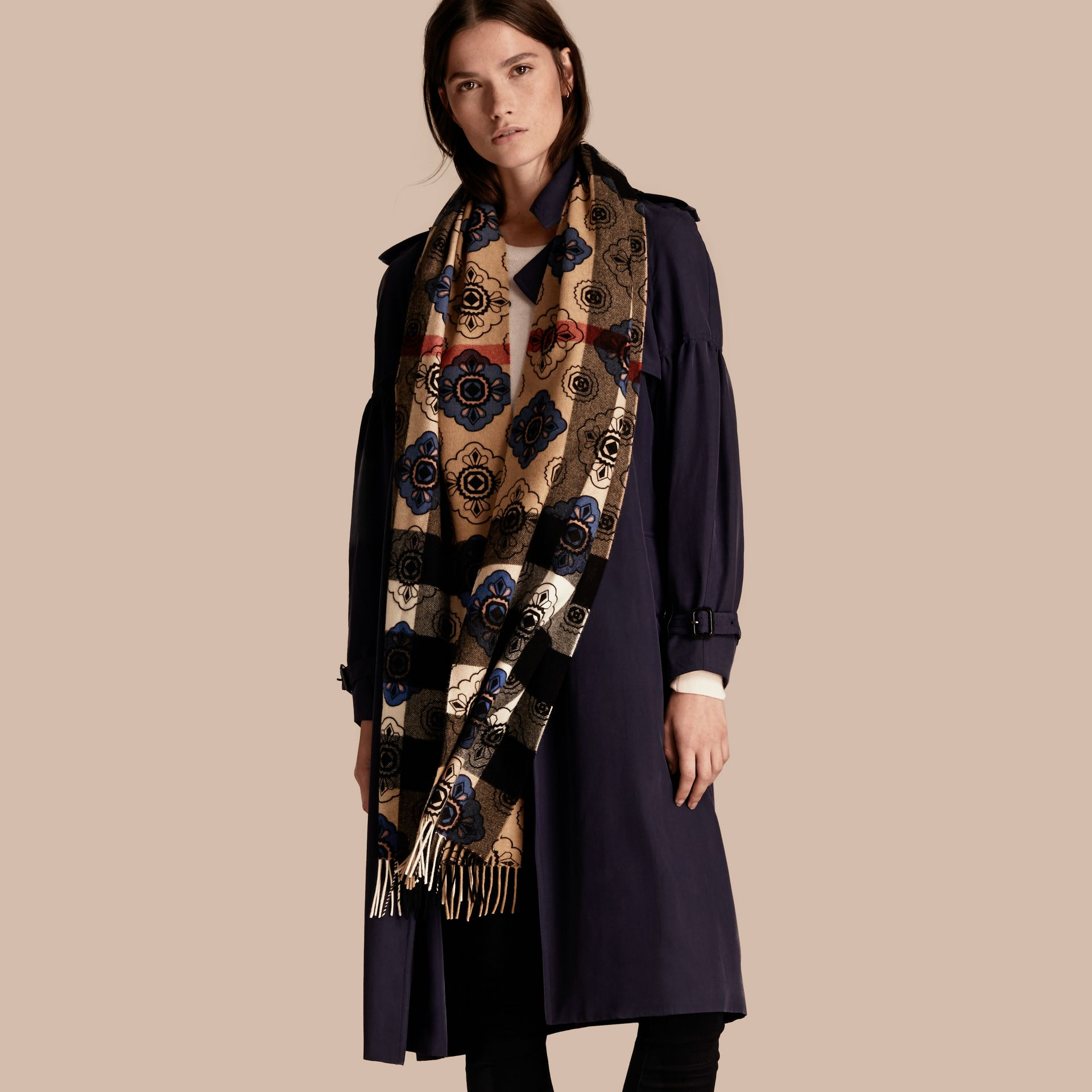 Reversible Geometric Tile Print and Check Cashmere Scarf - gallery image 3