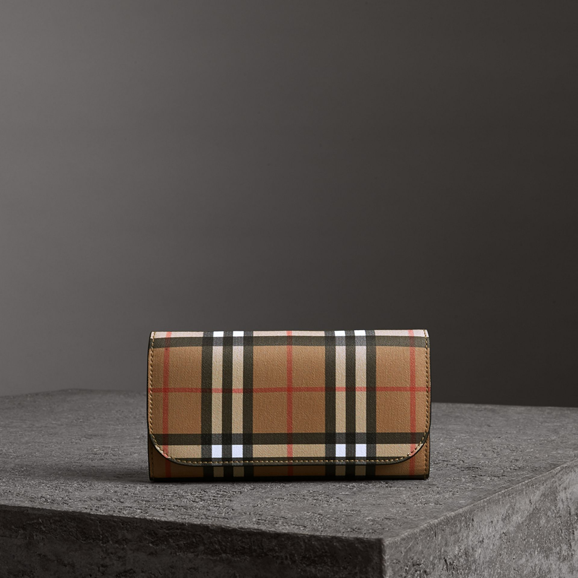 Vintage Check Continental Wallet with Zip Card Case in Black - Women | Burberry - gallery image 0