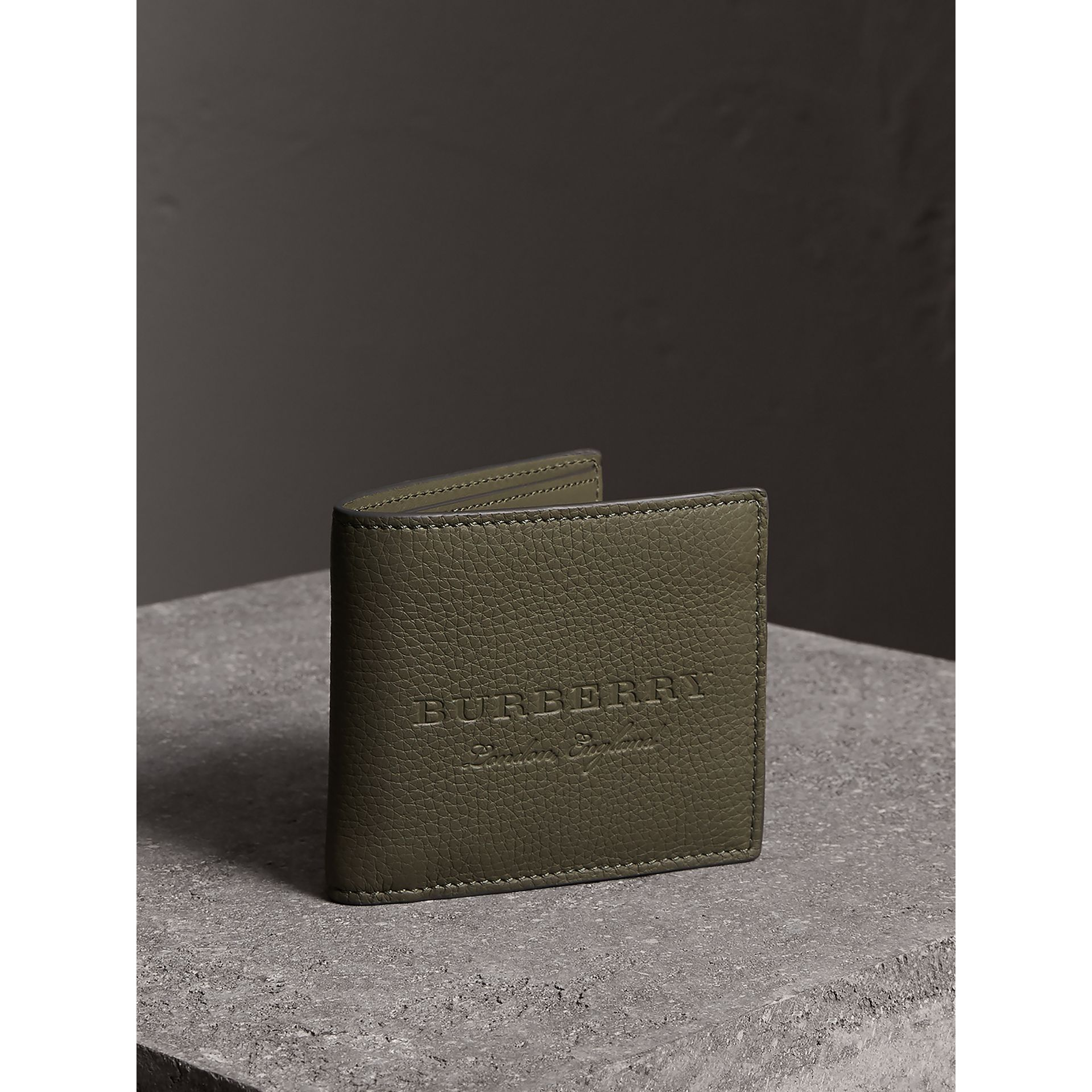Embossed Leather Bifold Wallet in Slate Green - Men | Burberry - gallery image 1