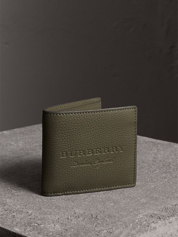 Embossed Leather Bifold Wallet in Slate Green - Men | Burberry