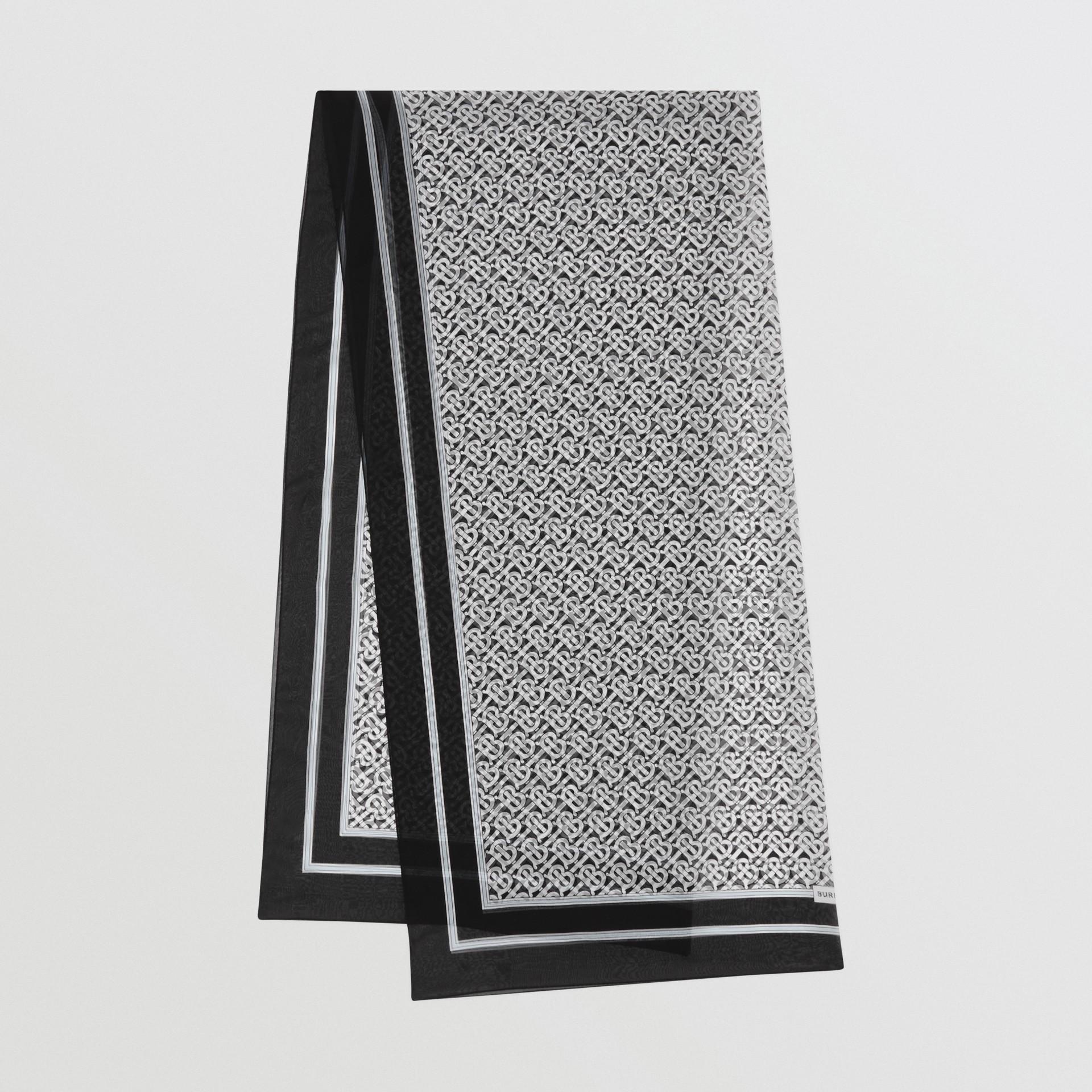 Monogram Print Silk Chiffon Scarf in Monochrome | Burberry United Kingdom - gallery image 0