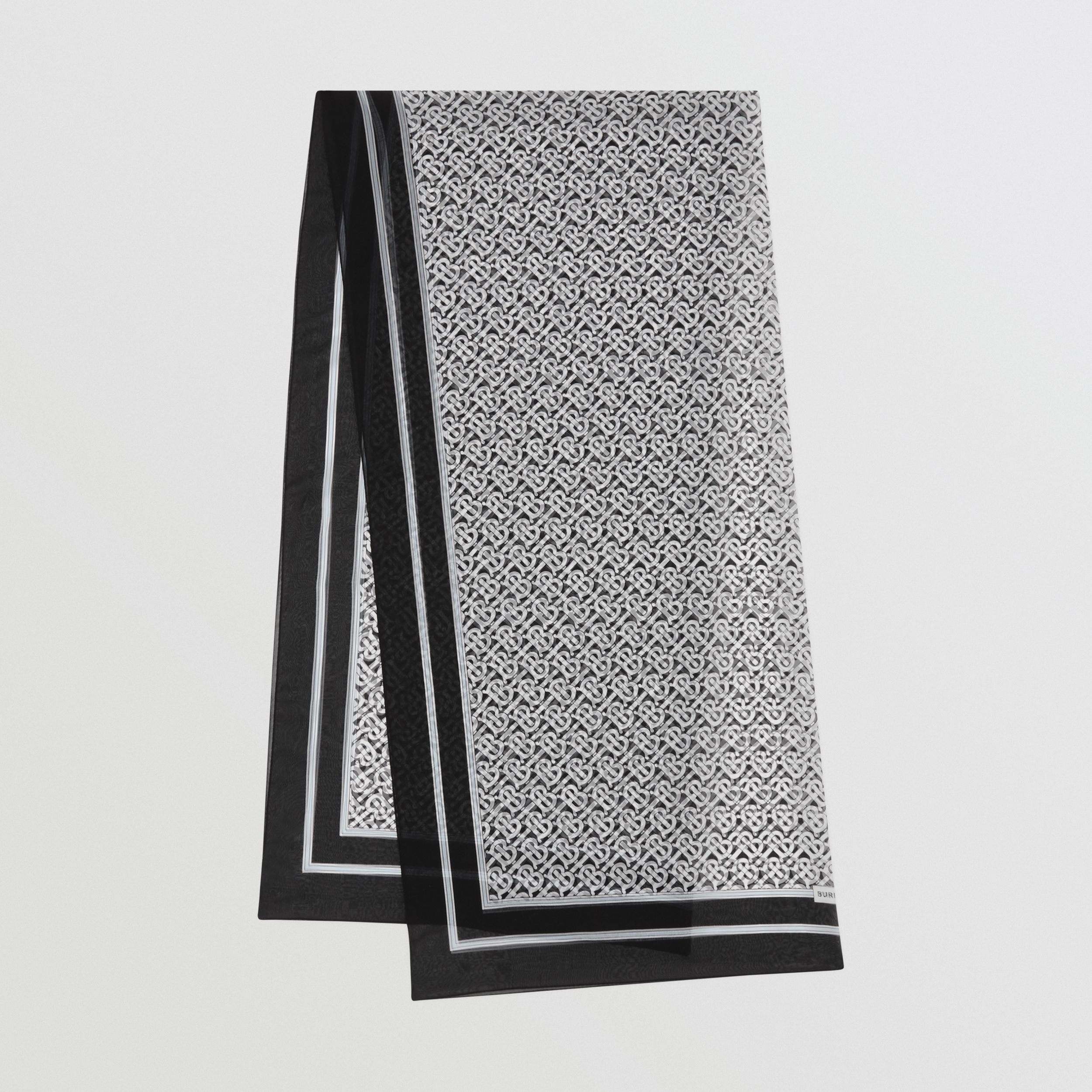Monogram Print Silk Chiffon Scarf in Monochrome | Burberry United Kingdom - 1