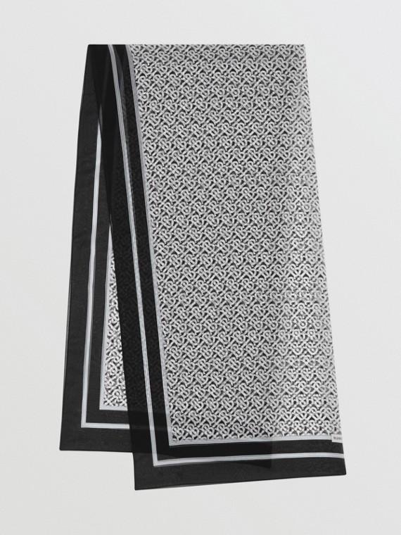 Sciarpa in chiffon di seta con stampa monogramma (Bianco E Nero)
