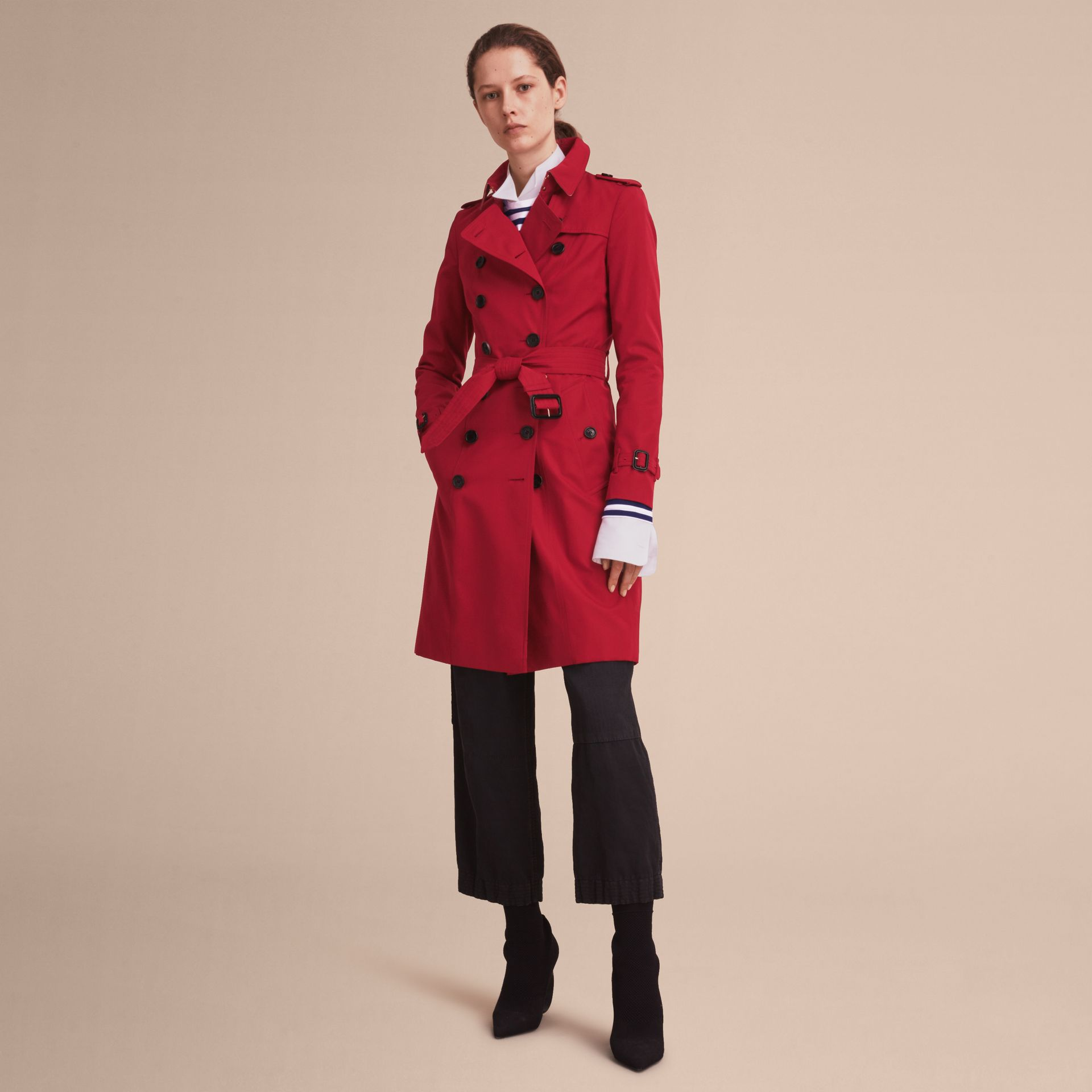 Parade red The Chelsea – Long Heritage Trench Coat Parade Red - gallery image 8
