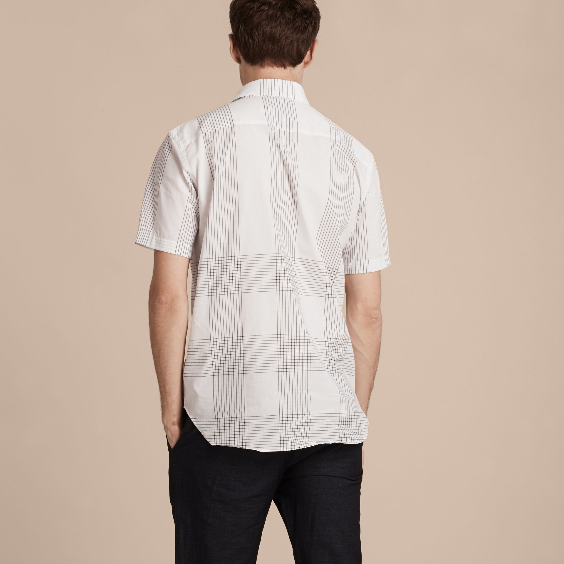 White Short-sleeved Check Cotton Shirt White - gallery image 3