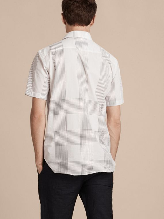 White Short-sleeved Check Cotton Shirt White - cell image 2