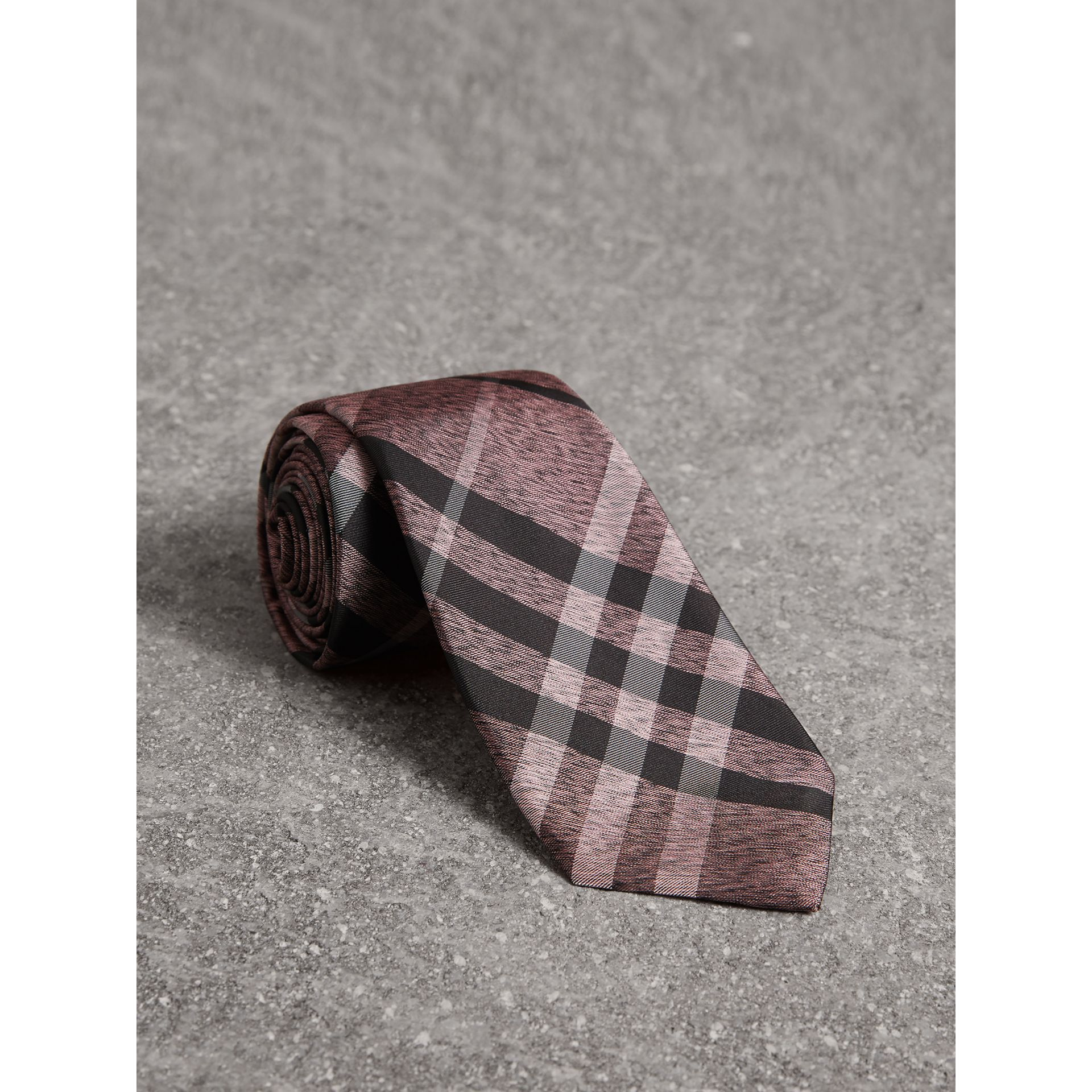 Modern Cut Check Silk Tie in Pale Fuchsia - Men | Burberry United States - gallery image 0