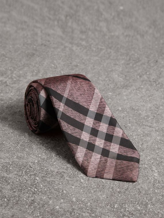 Modern Cut Check Silk Tie in Pale Fuchsia