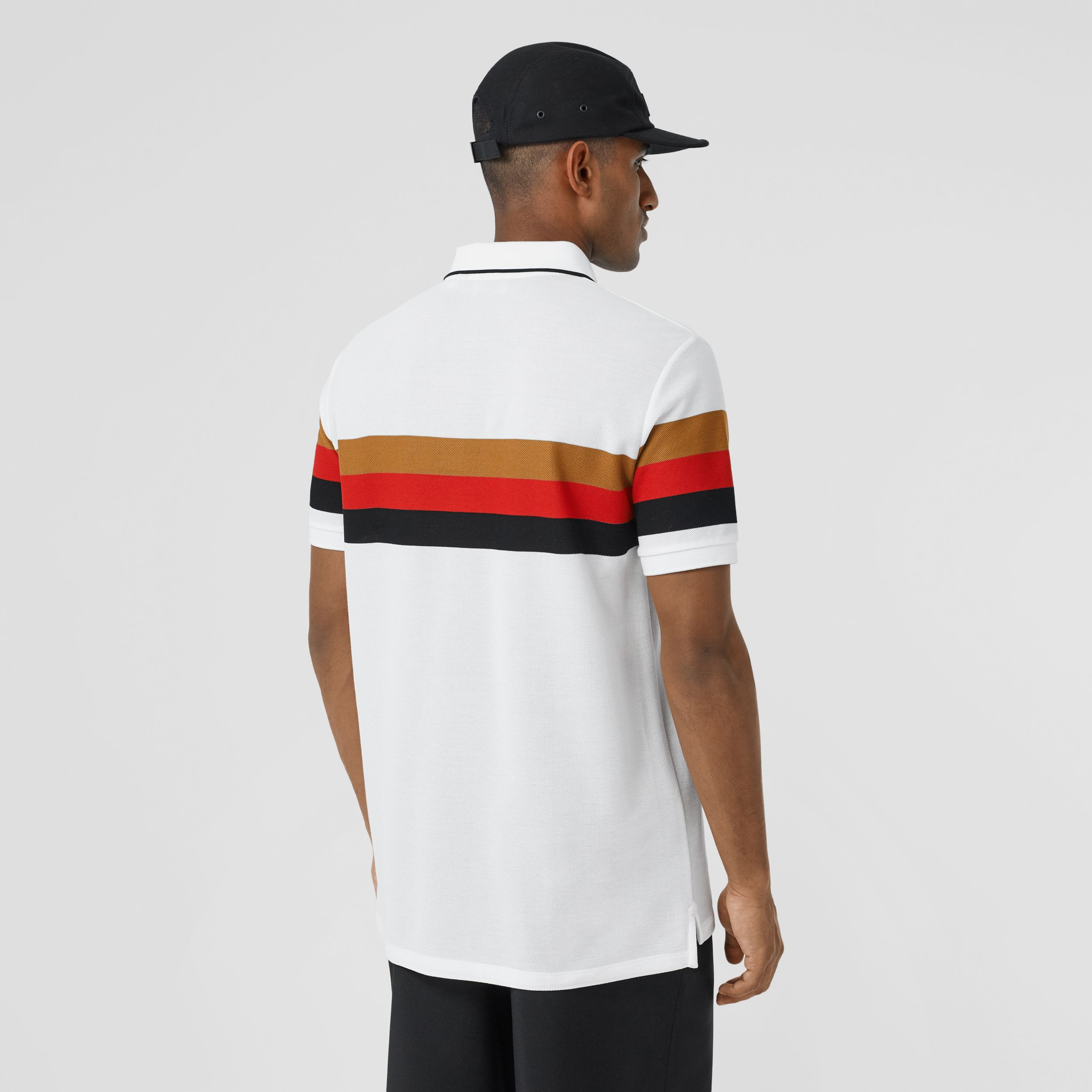 Monogram Motif Striped Cotton Polo Shirt in White - Men | Burberry - 3