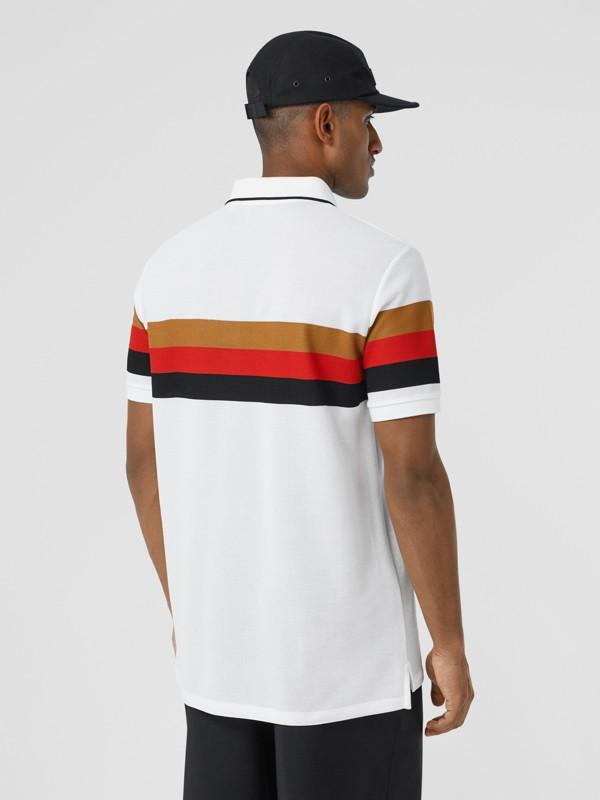 Monogram Motif Striped Cotton Polo Shirt in White - Men | Burberry - cell image 2