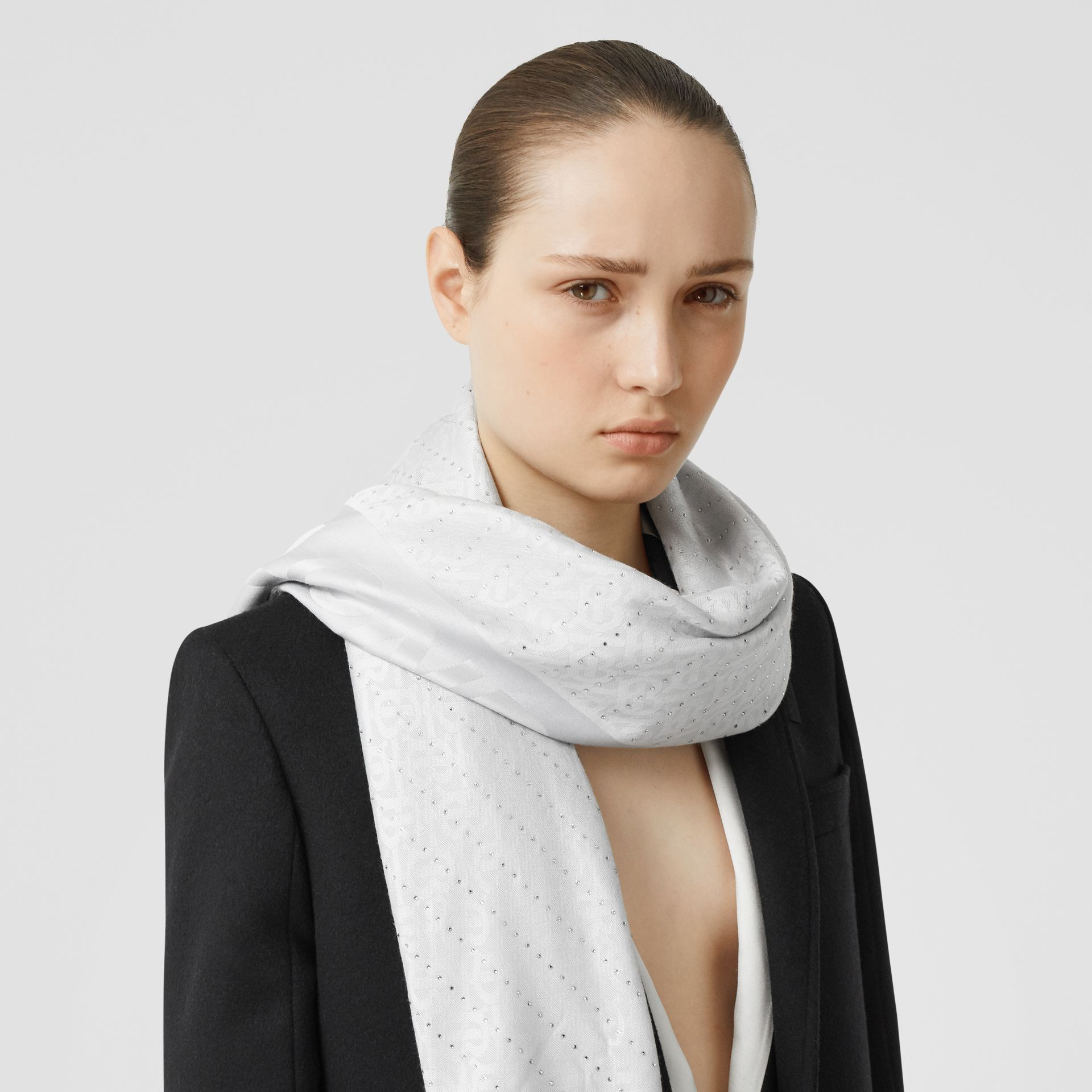 Crystal Pinstriped Silk Wool Large Square Scarf in Light Pebble Grey - Women | Burberry United Kingdom - gallery image 2