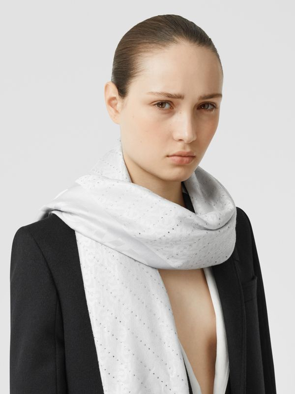 Crystal Pinstriped Silk Wool Large Square Scarf in Light Pebble Grey - Women | Burberry - cell image 2