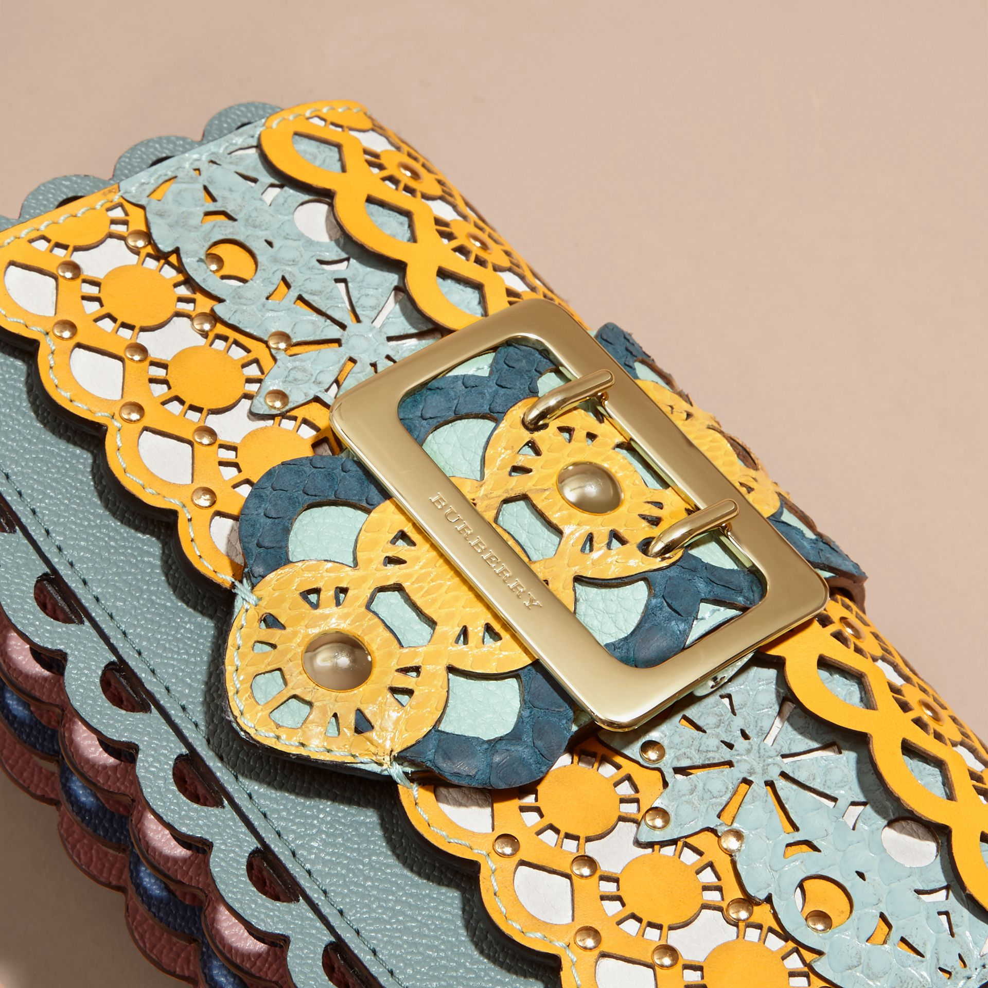The Small Buckle Bag in Laser-cut Leather and Snakeskin - gallery image 2