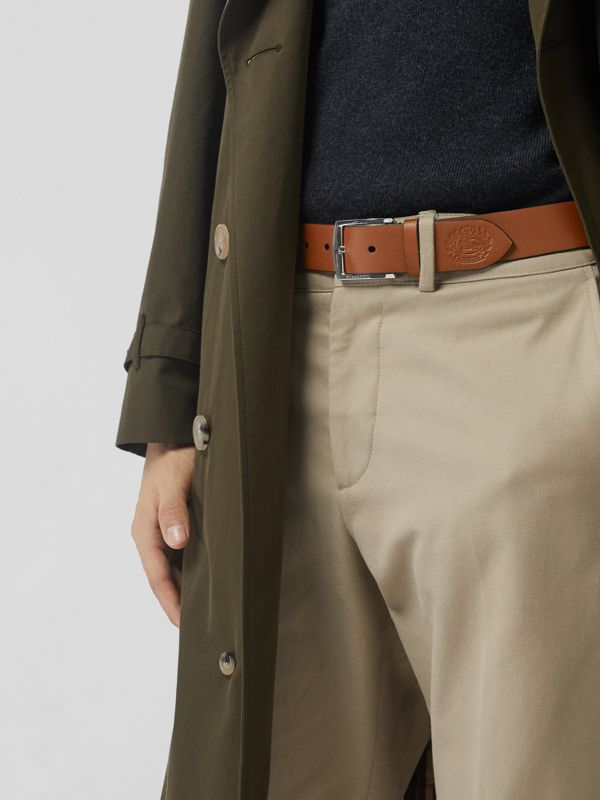 Embossed Crest Leather Belt in Chestnut Brown - Men | Burberry United States - cell image 2