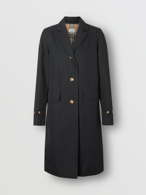 Cotton Gabardine Car Coat in Black - Women | Burberry - cell image 3