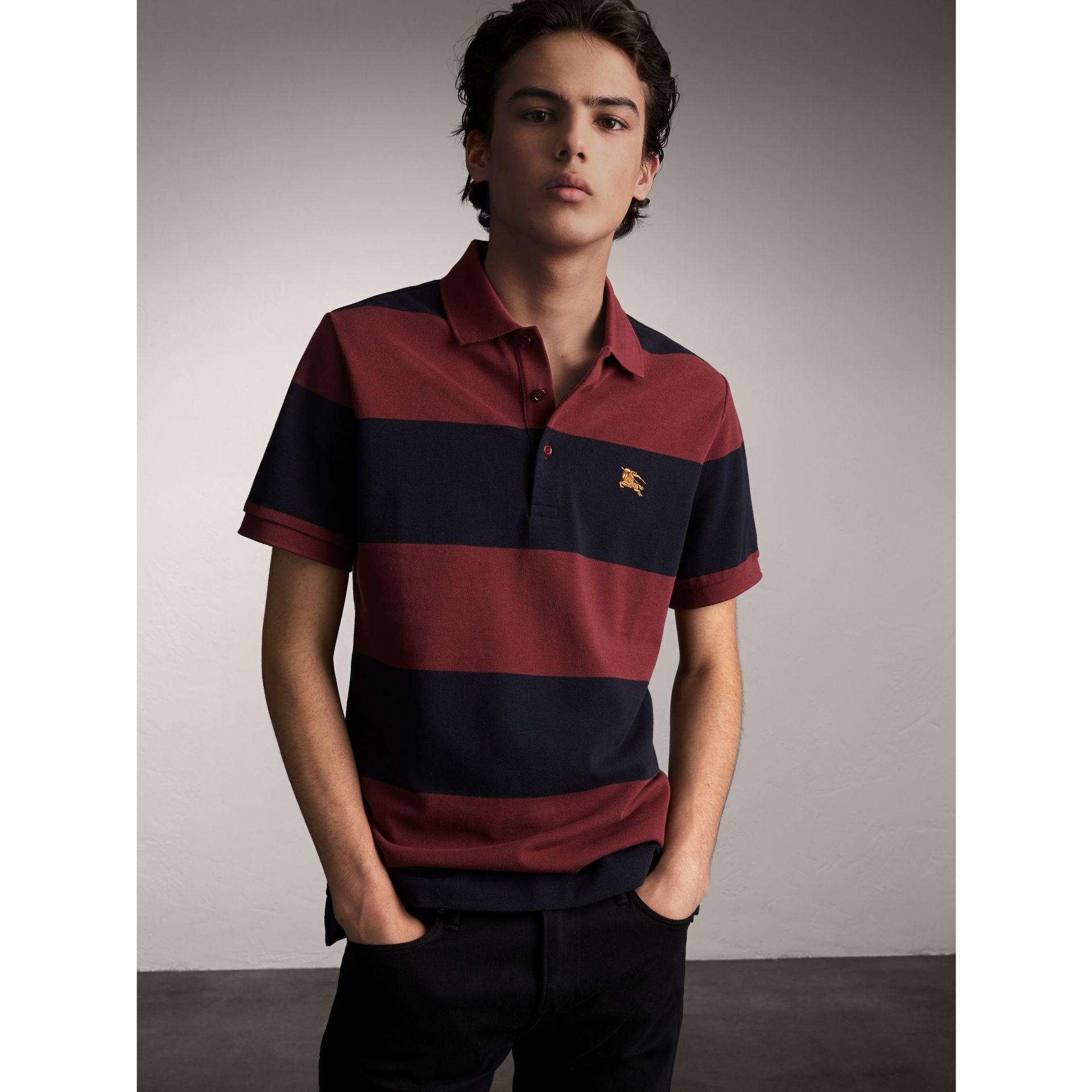 Striped Cotton Piqué Polo Shirt in Burgundy/navy - Men | Burberry Singapore - gallery image 1