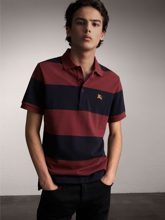 Striped Cotton Piqué Polo Shirt in Burgundy/navy - Men | Burberry Australia