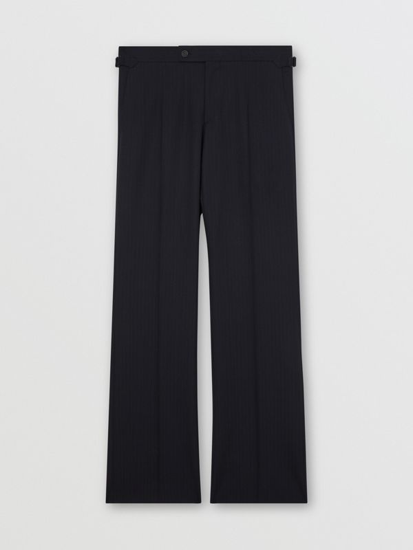 Classic Fit Pinstriped Wool Tailored Trousers in Navy Stripe - Men | Burberry Australia - cell image 3