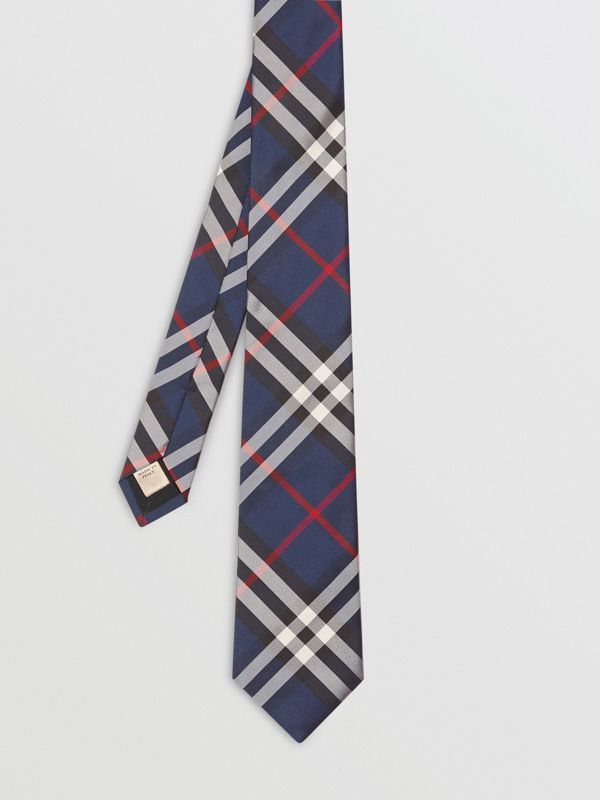 Modern Cut Vintage Check Silk Tie in Navy - Men | Burberry Singapore - cell image 3