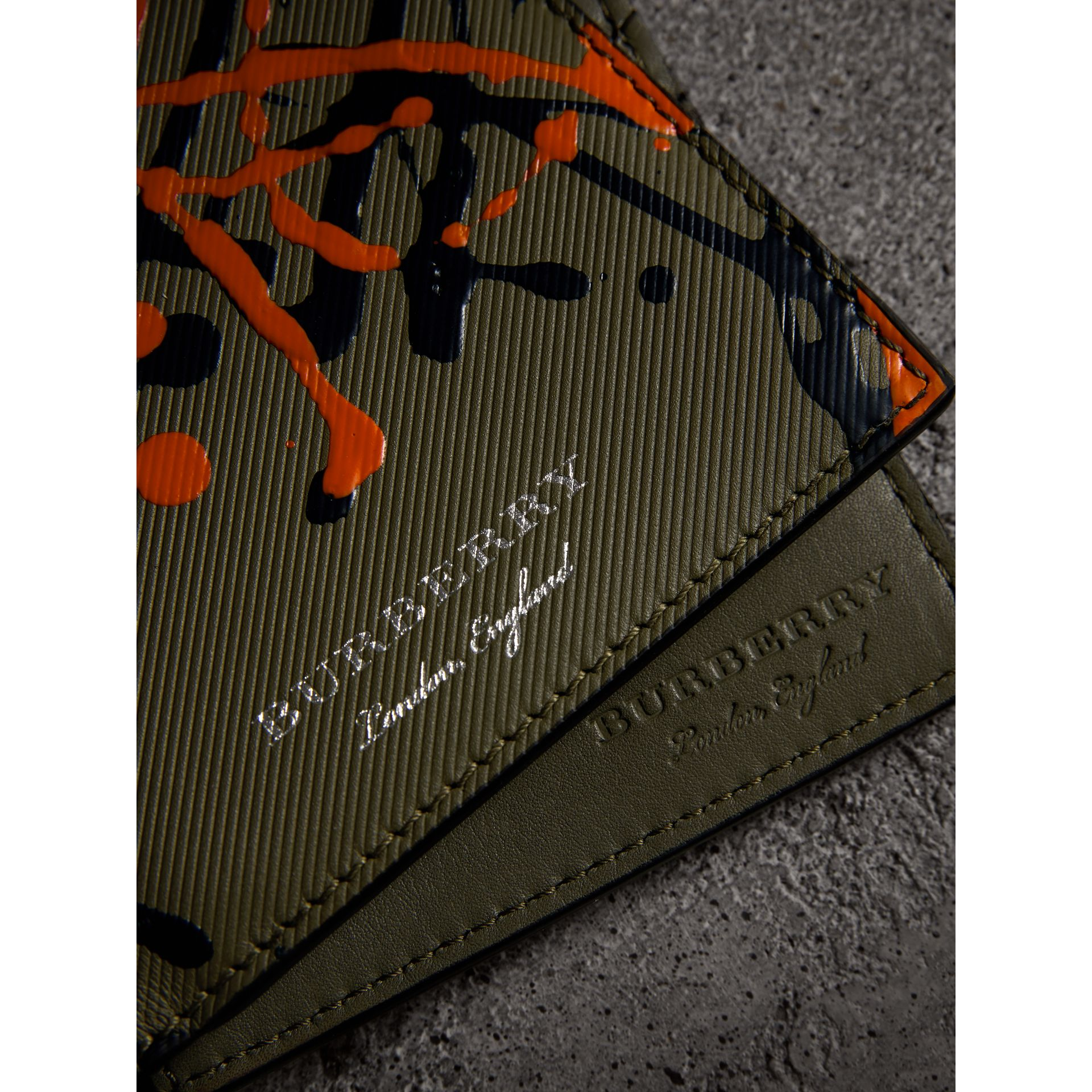 Splash Trench Leather International Bifold Wallet in Slate Green/splash - Men | Burberry - gallery image 1