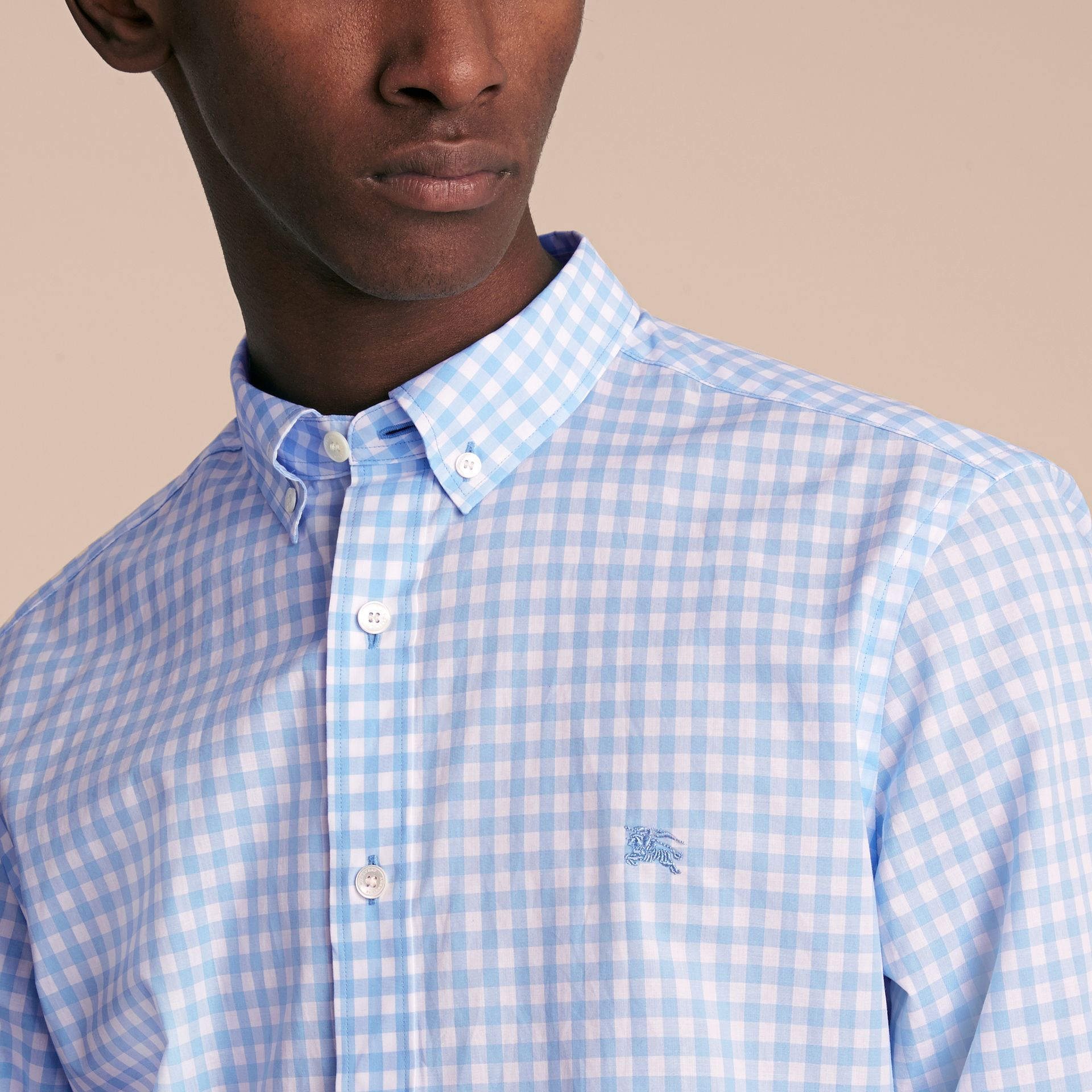 Button-down Collar Gingham Cotton Shirt Pale Blue - gallery image 5