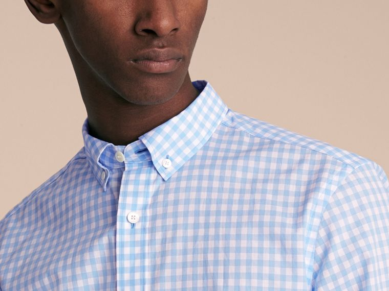 Button-down Collar Gingham Cotton Shirt in Pale Blue - Men | Burberry Canada - cell image 4