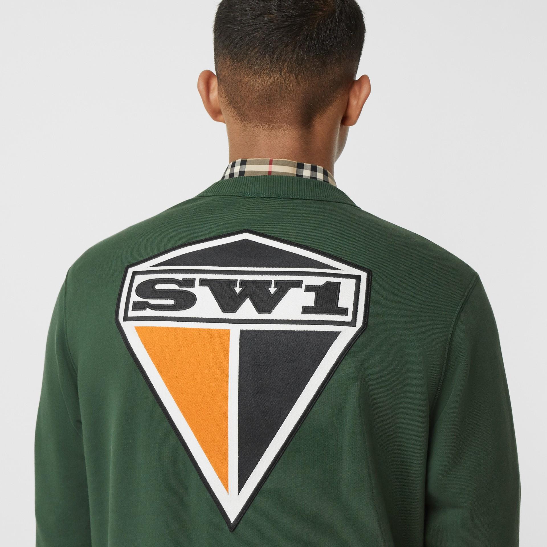Logo Graphic Cotton Sweatshirt in Dark Pine Green - Men | Burberry - gallery image 4