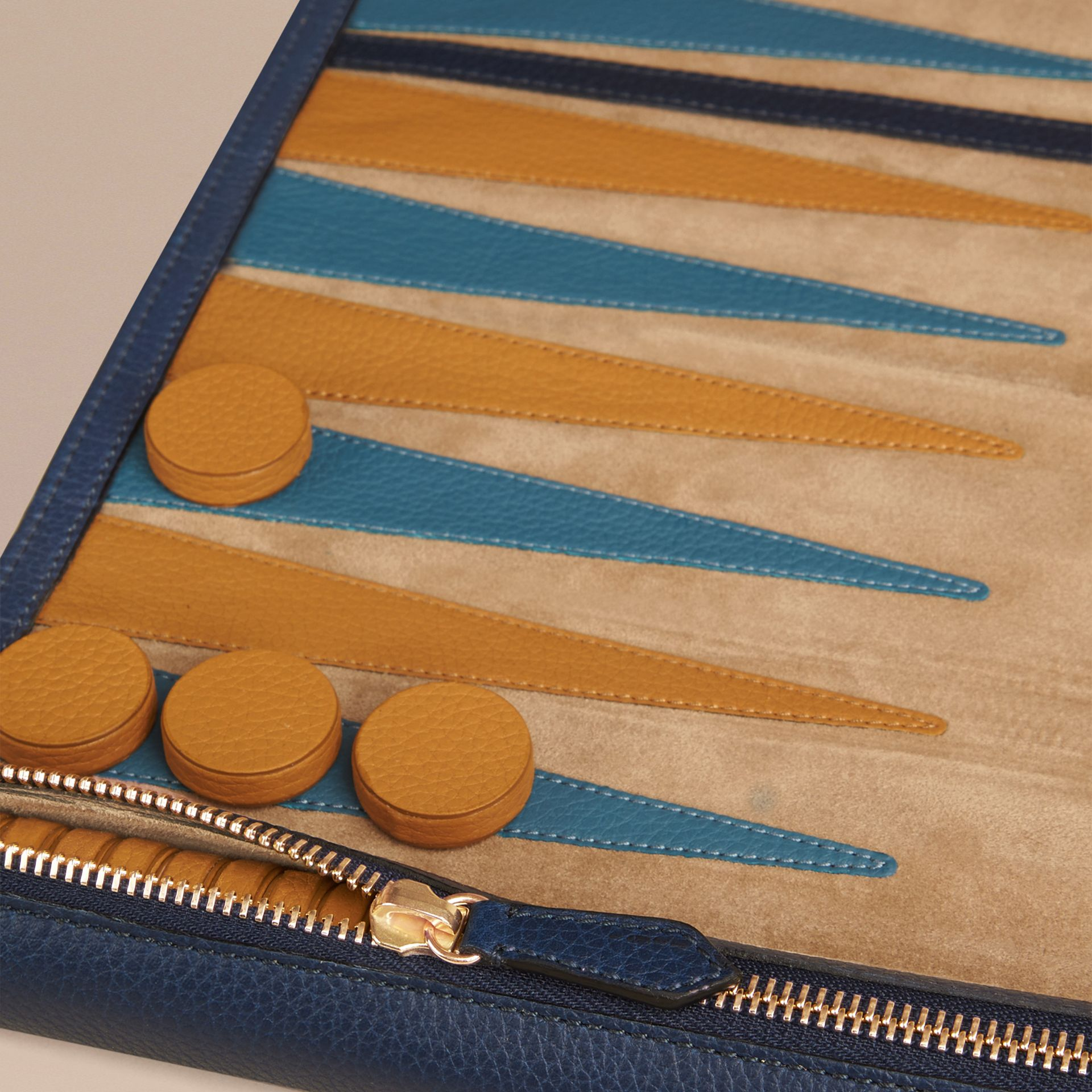 Leather Travel Backgammon Set in Bright Navy - gallery image 2
