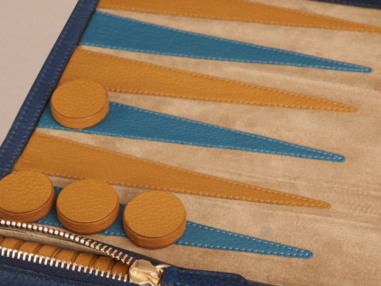Leather Travel Backgammon Set in Bright Navy - cell image 1