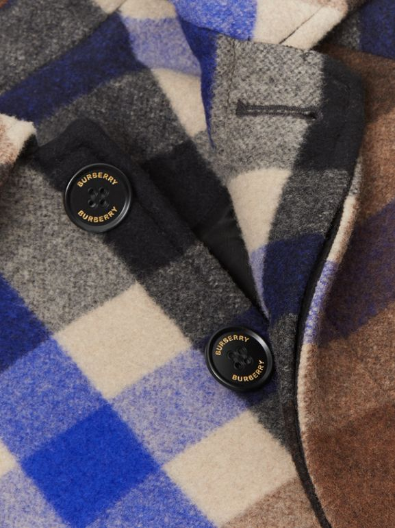 Check Wool Cashmere Blend Car Coat in Bright Navy | Burberry United Kingdom - cell image 1