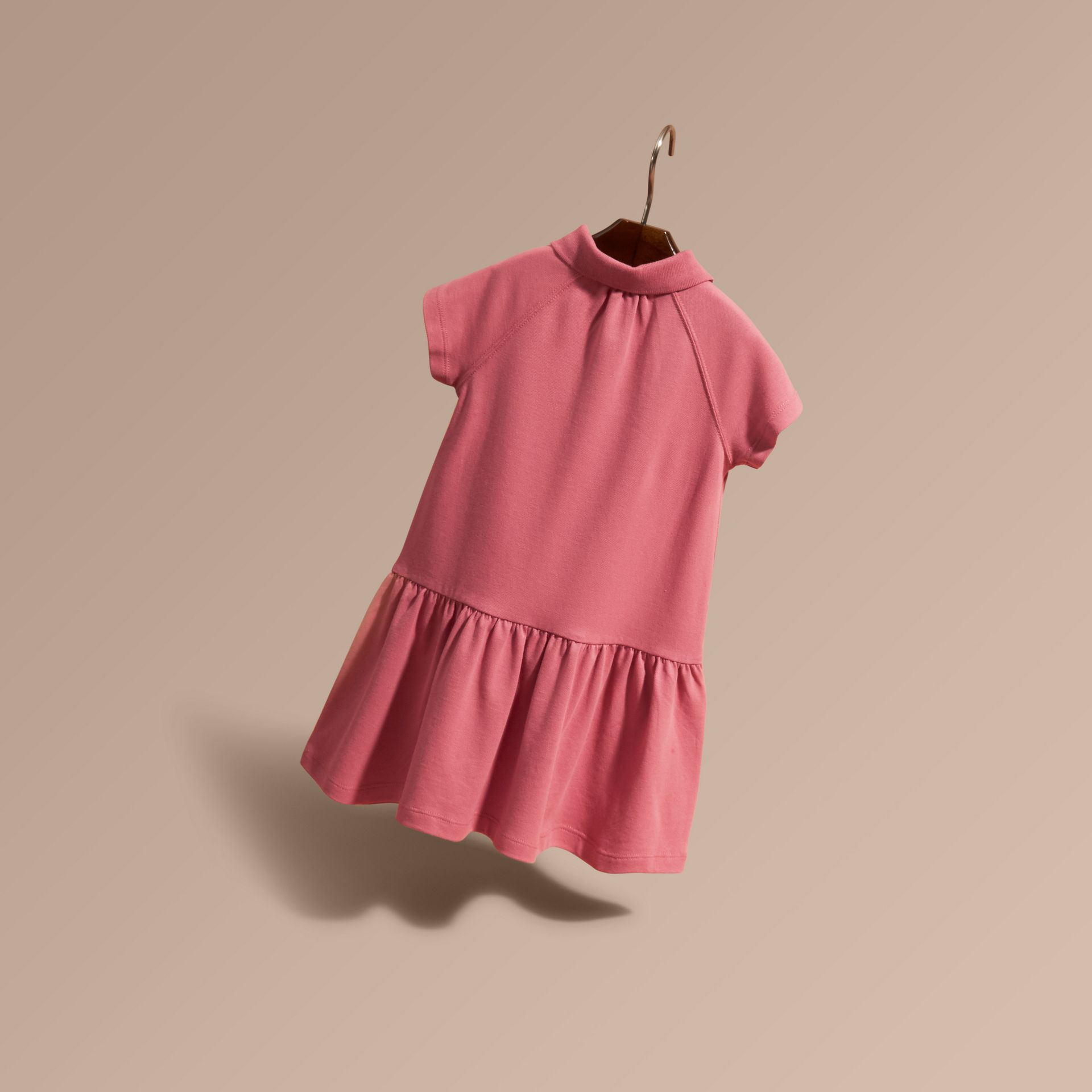 Check Placket Cotton Blend Polo Shirt Dress - gallery image 3