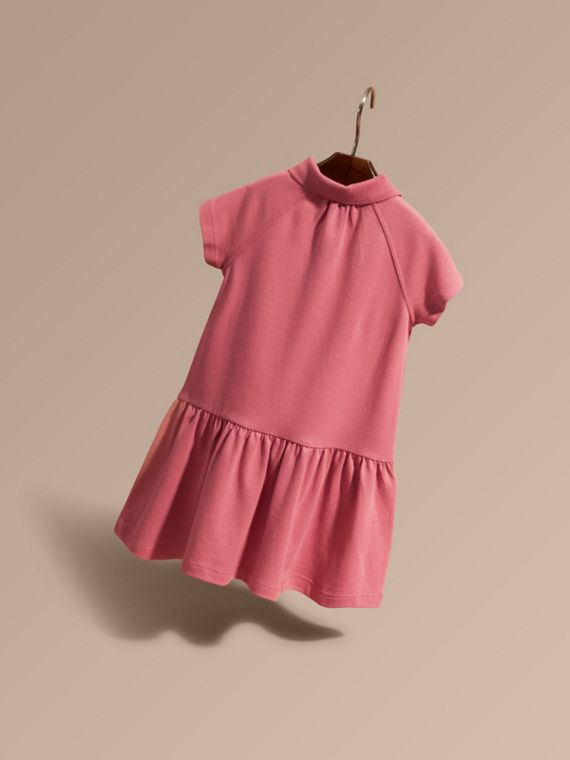 Check Placket Cotton Blend Polo Shirt Dress - cell image 2