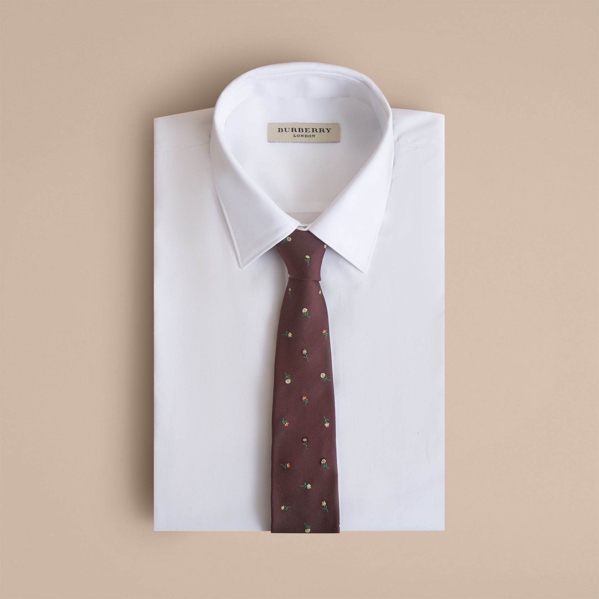 Slim Cut Floral Silk Jacquard Tie in Dark Cinnamon - Men | Burberry - gallery image 4