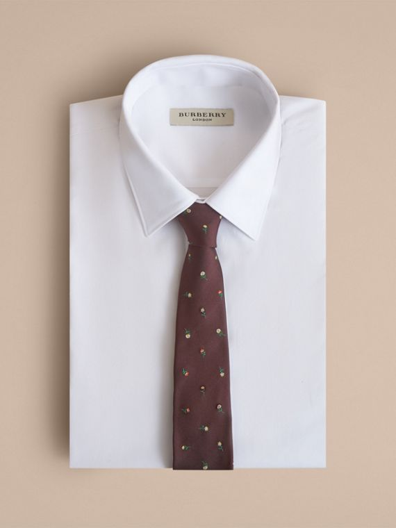Slim Cut Floral Silk Jacquard Tie in Dark Cinnamon - Men | Burberry - cell image 3