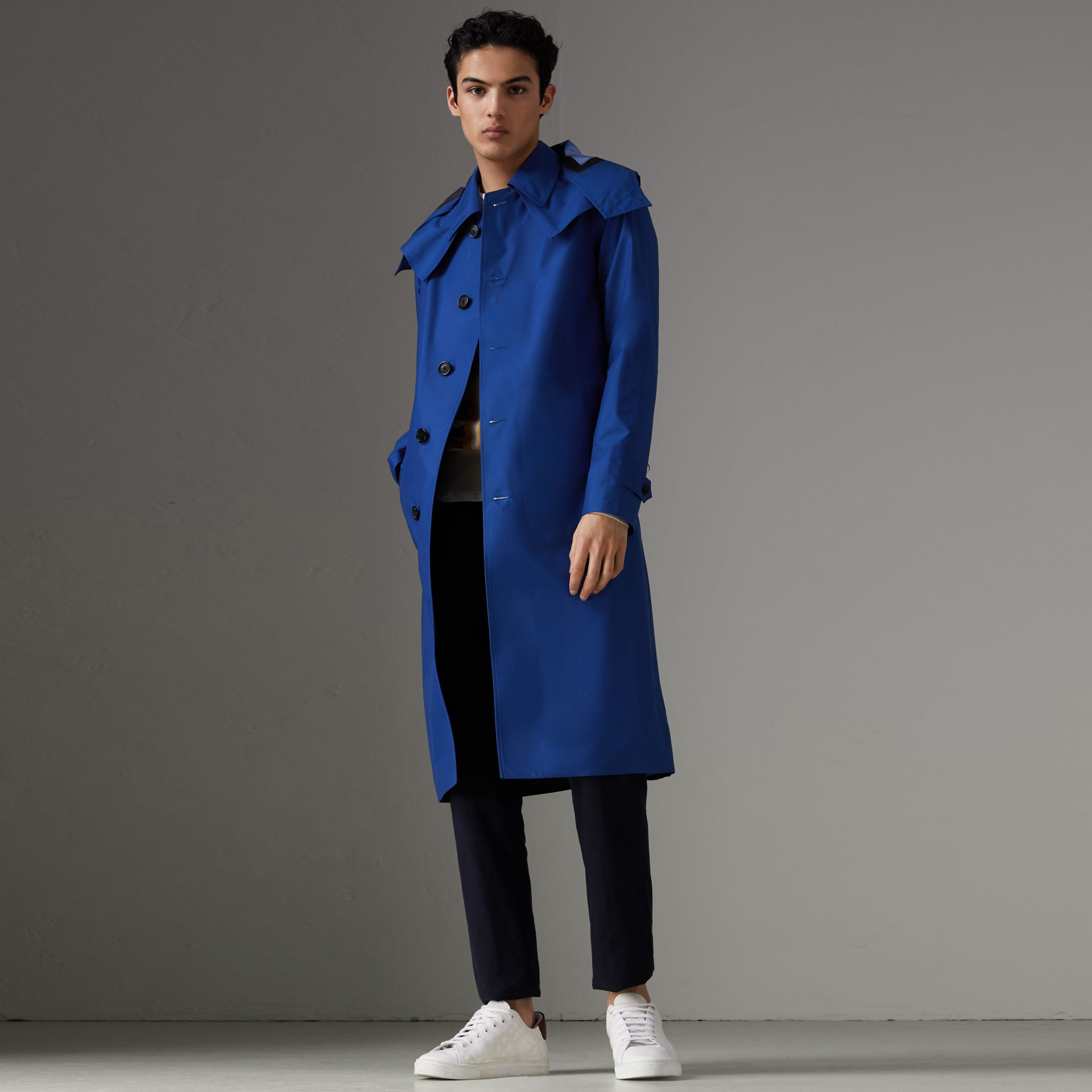 Detachable Hood Showerproof Car Coat in Bright Navy - Men | Burberry United Kingdom - gallery image 0