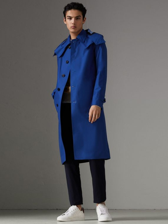 Detachable Hood Showerproof Car Coat in Bright Navy
