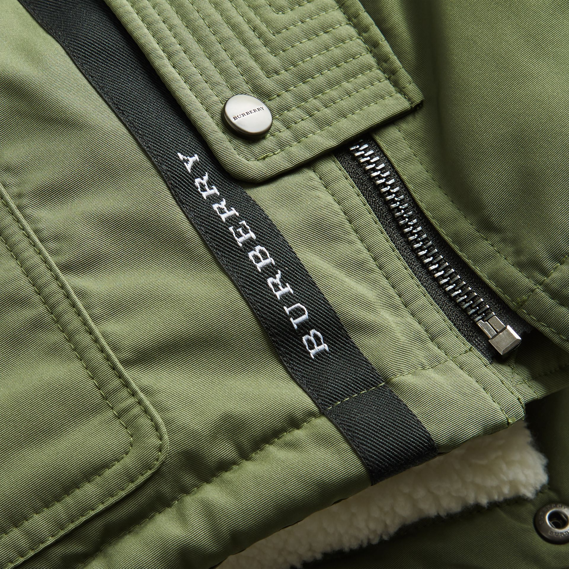 Detachable Hood Down-filled Parka Coat in Sage | Burberry - gallery image 1