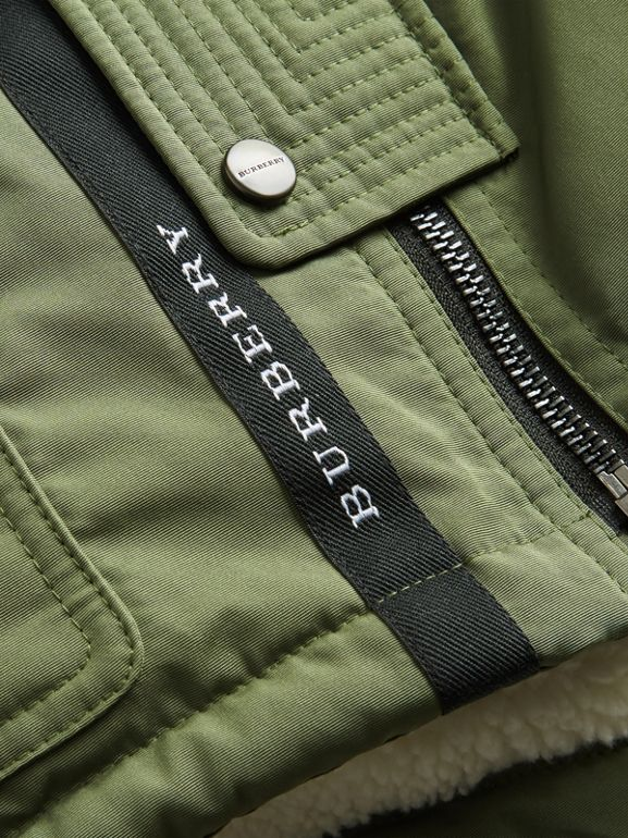 Detachable Hood Down-filled Parka Coat in Sage | Burberry - cell image 1