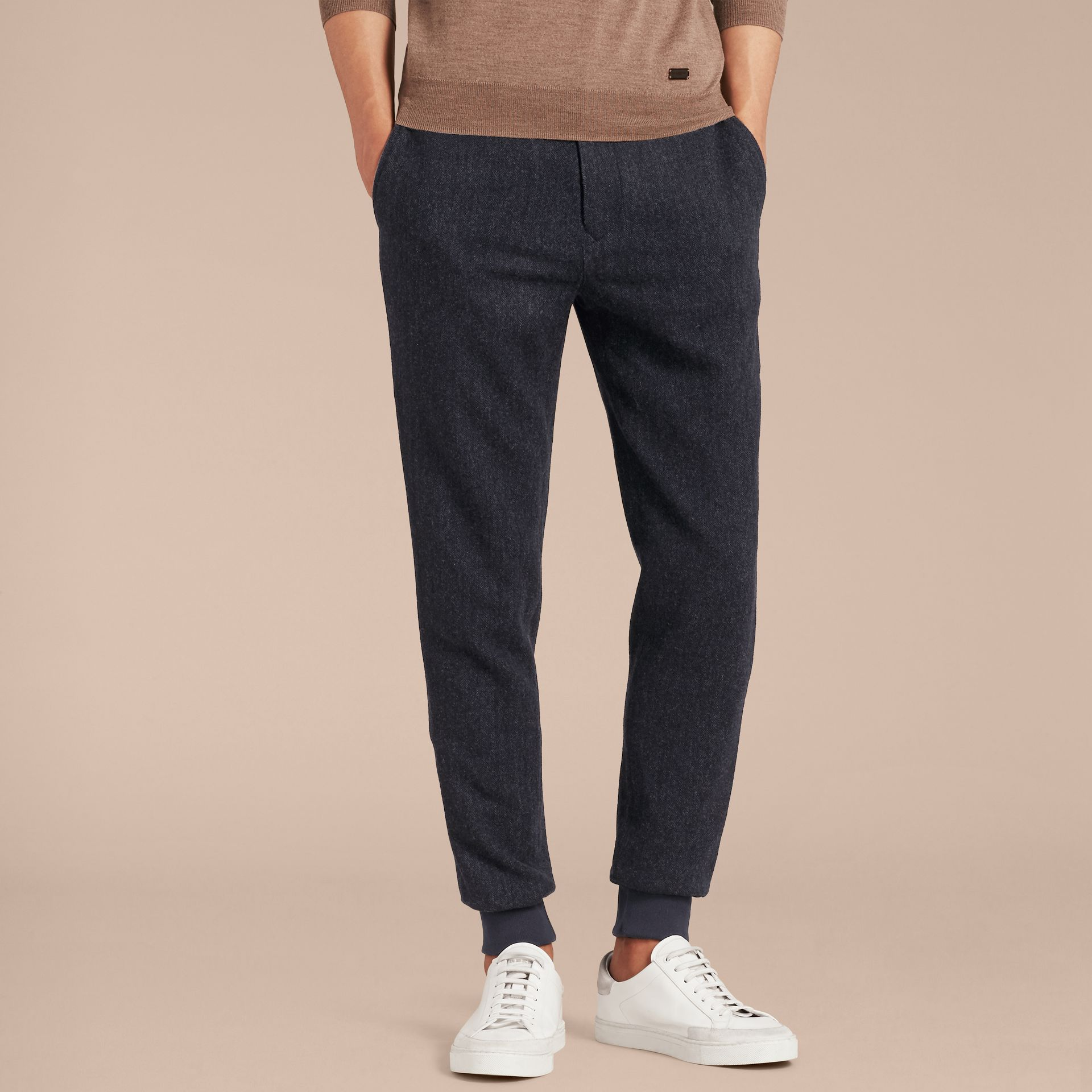 Navy Tailored Herringbone Wool Track Pants - gallery image 6