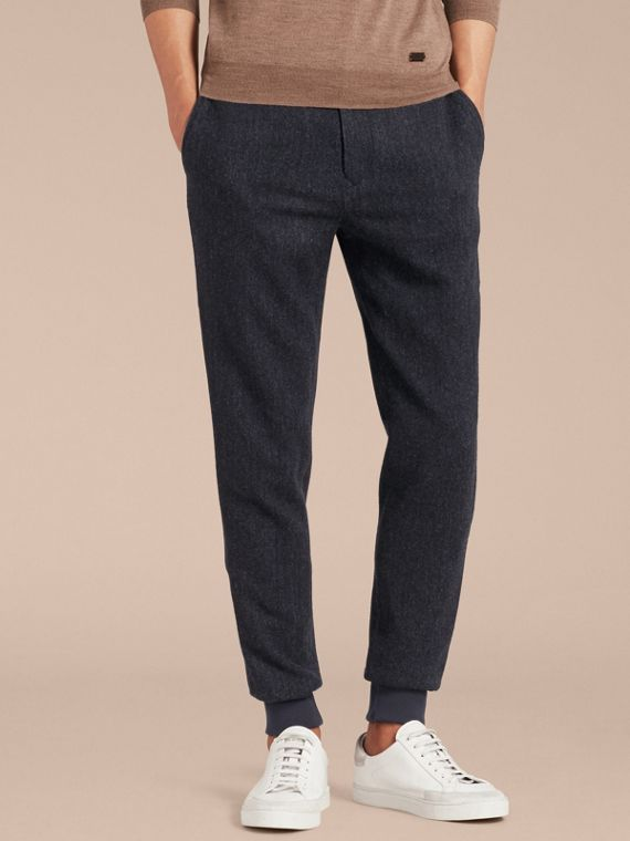 Tailored Herringbone Wool Track Pants