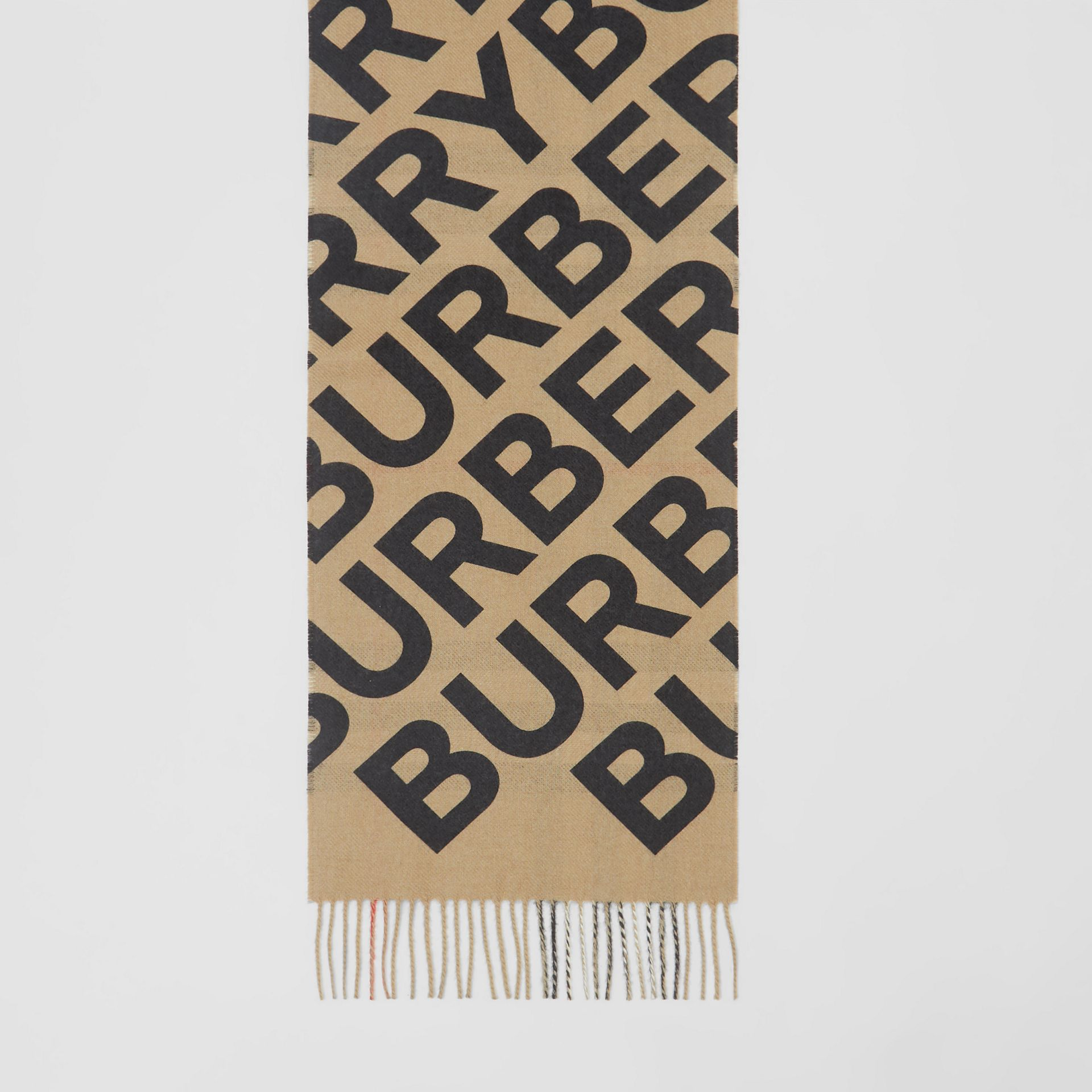 Logo Print Check Cashmere Scarf in Black | Burberry Singapore - gallery image 2