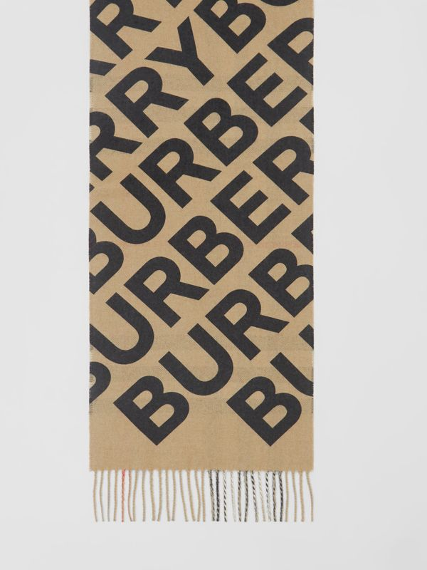 Logo Print Check Cashmere Scarf in Black | Burberry - cell image 2