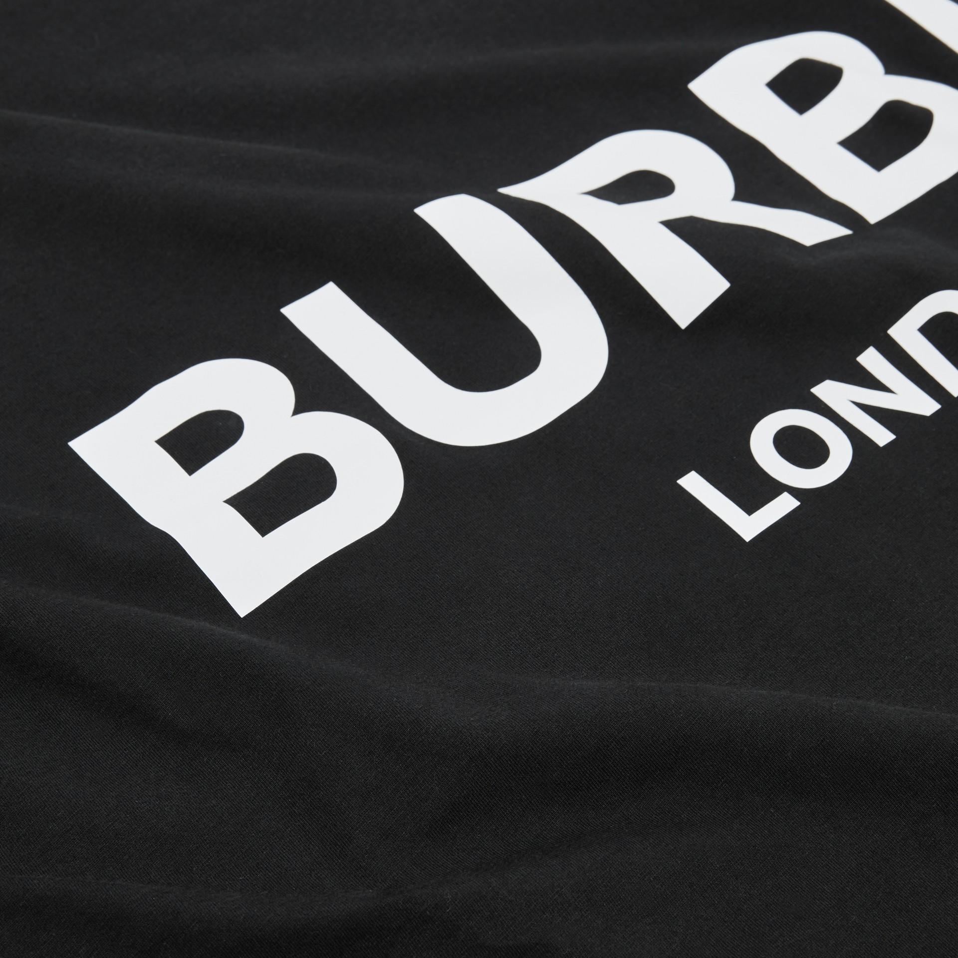 Logo Print Cotton Baby Blanket in Black - Children | Burberry United Kingdom - gallery image 1