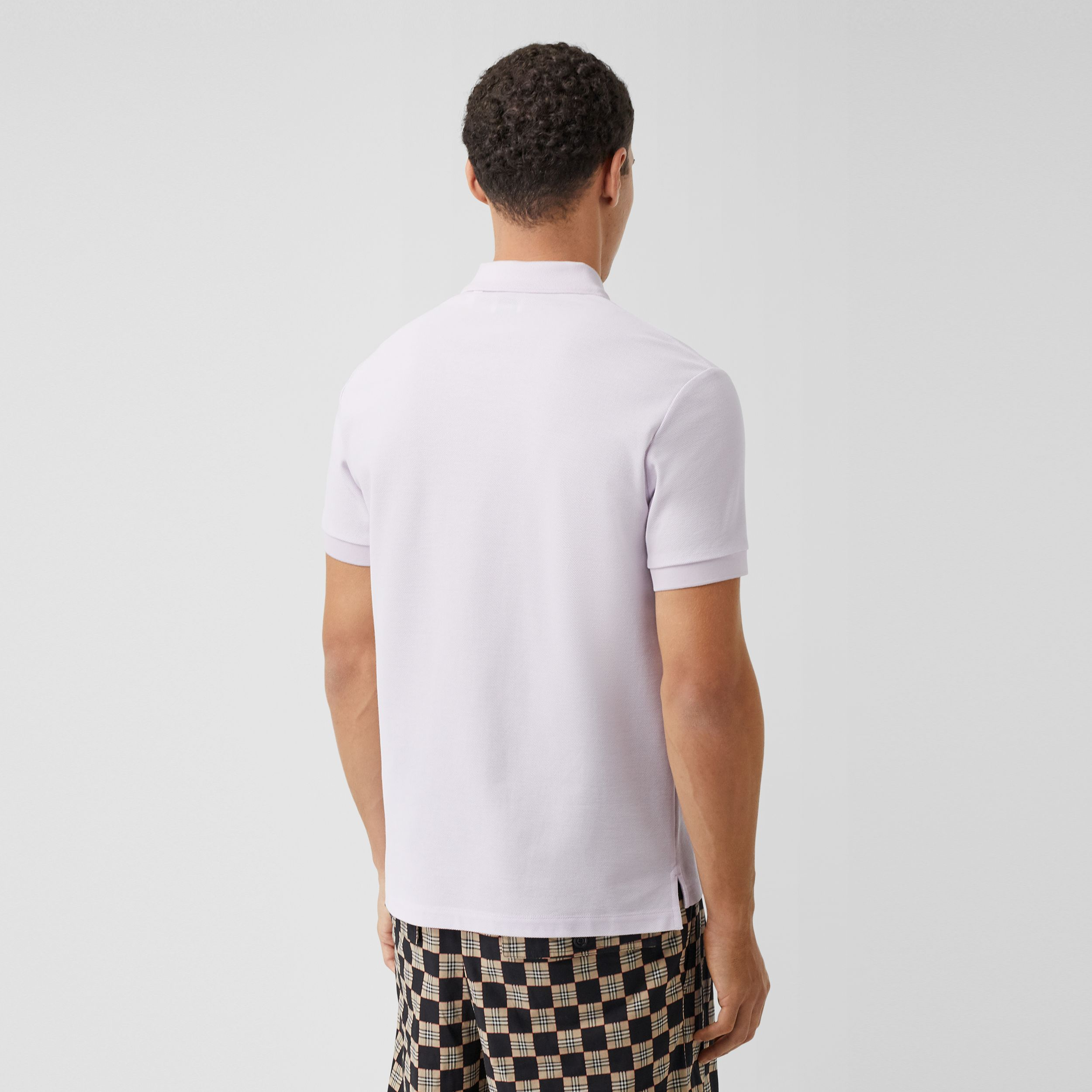 Monogram Motif Cotton Piqué Polo Shirt in Pale Thistle - Men | Burberry Canada - 3