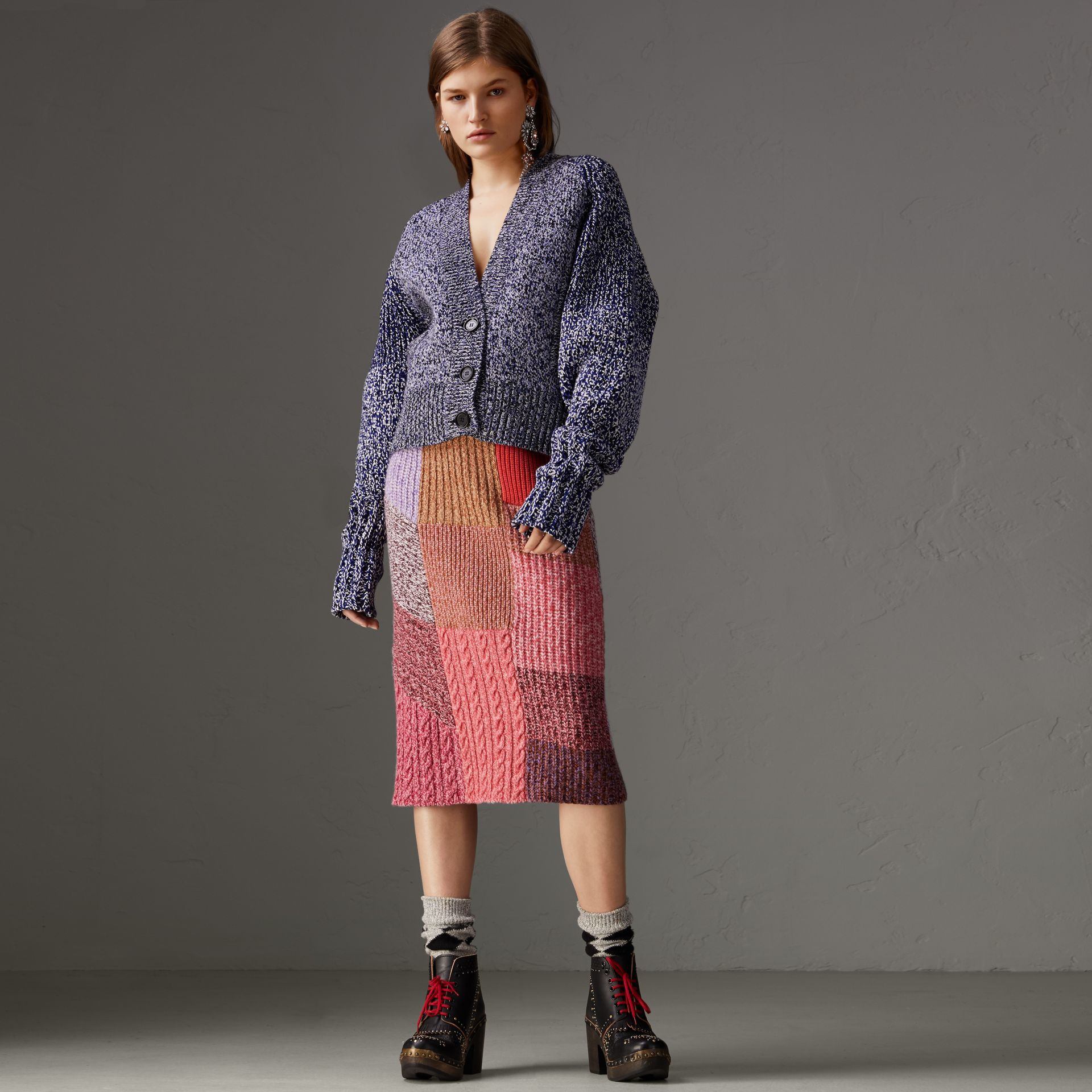 Cashmere Cotton Blend Mouliné Cardigan  in Bright Navy/black - Women | Burberry Canada - gallery image 0