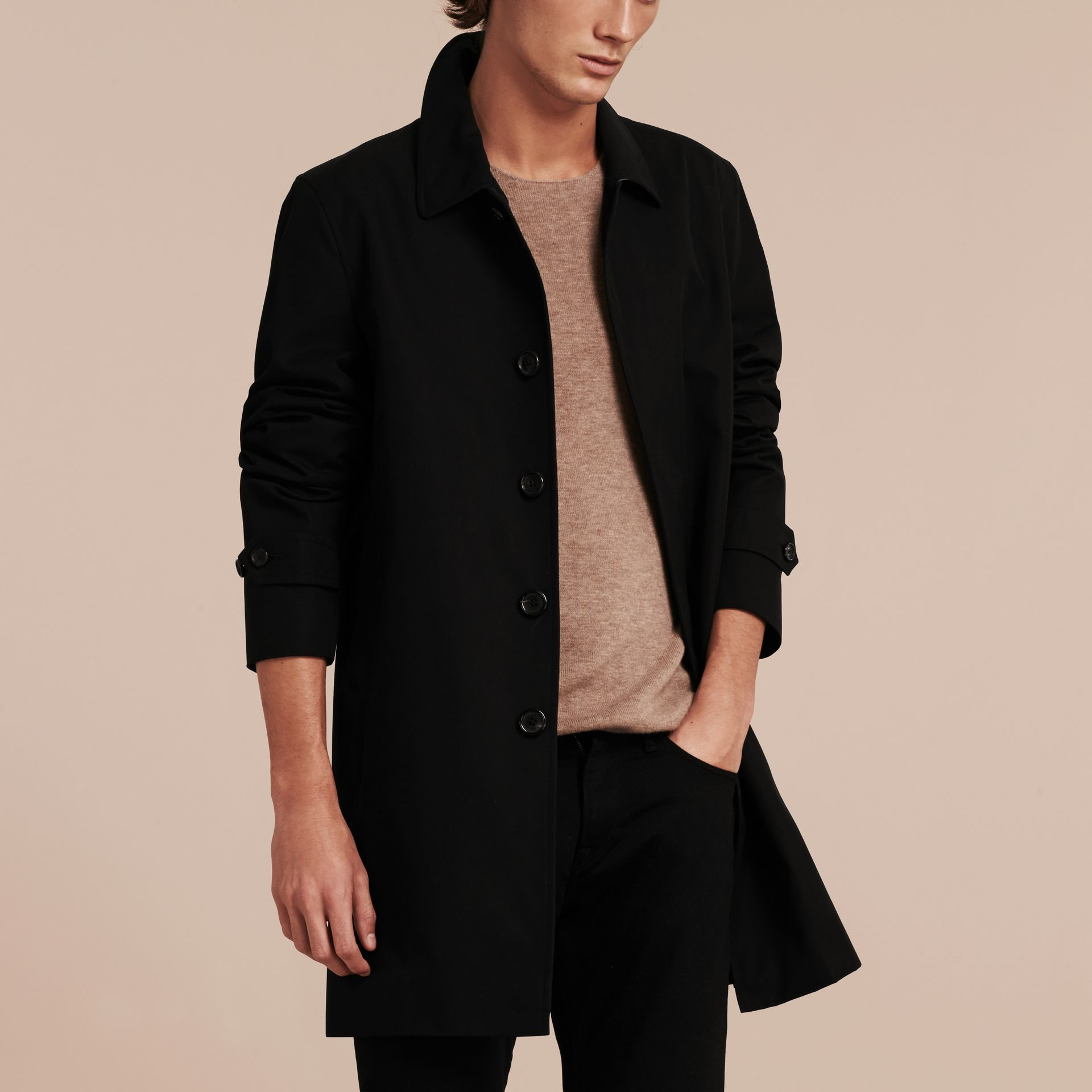 Black Cotton Gabardine Car Coat Black - gallery image 6