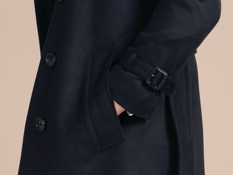 Navy Trench coat in cashmere Navy - cell image 4